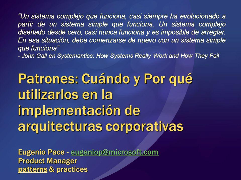 Patrones: Cuándo y Por qué utilizarlos en la implementación de arquitecturas corporativas Eugenio Pace - eugeniop@microsoft.com Product Manager patter