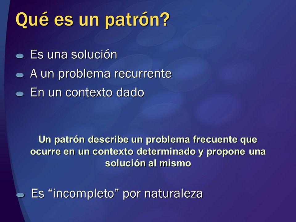 Qué es un patrón? Es una solución A un problema recurrente En un contexto dado Un patrón describe un problema frecuente que ocurre en un contexto dete