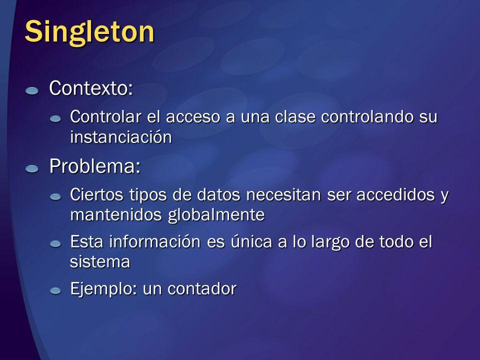 Singleton Contexto: Controlar el acceso a una clase controlando su instanciación Problema: Ciertos tipos de datos necesitan ser accedidos y mantenidos