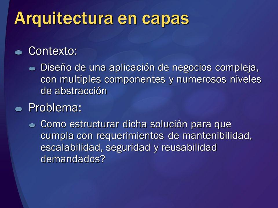 Arquitectura en capas Contexto: Diseño de una aplicación de negocios compleja, con multiples componentes y numerosos niveles de abstracción Problema: