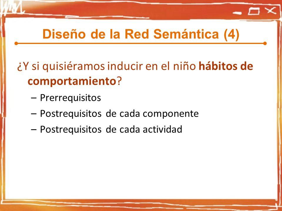 Diseño de la Red Semántica (4) ¿Y si quisiéramos inducir en el niño hábitos de comportamiento? –Prerrequisitos –Postrequisitos de cada componente –Pos
