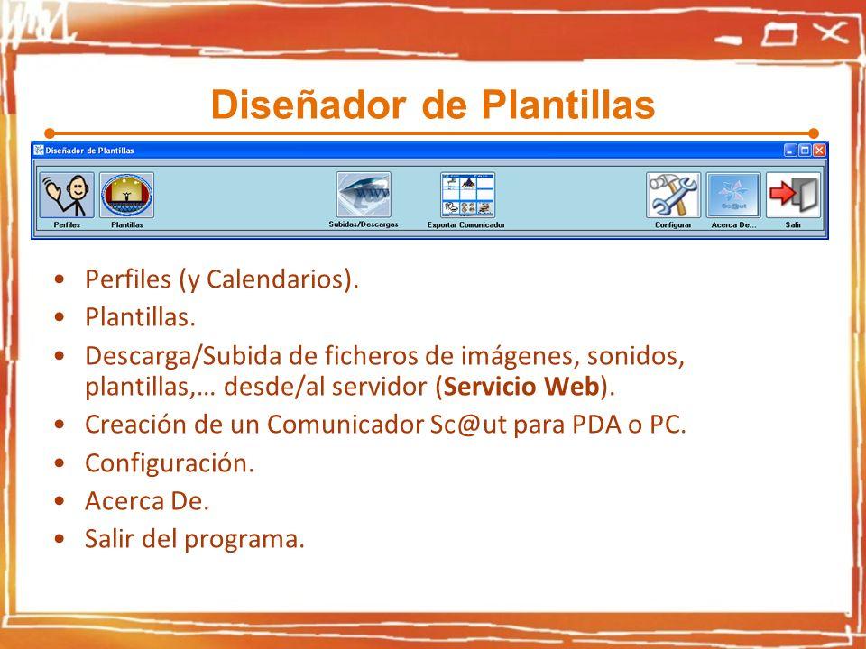 Diseñador de Plantillas Perfiles (y Calendarios). Plantillas. Descarga/Subida de ficheros de imágenes, sonidos, plantillas,… desde/al servidor (Servic