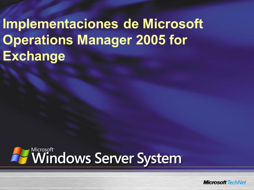 Lo que vamos a cubrir Microsoft® Exchange 2003 Management Pack (MP) Realizar una supervisión con Microsoft Operations Manager (MOM) 2005 Generar informes con MOM 2005