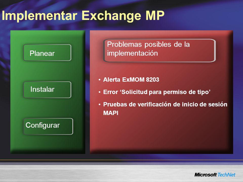 Implementar Exchange MP Planear Instalar Configurar Problemas posibles de la implementación Alerta ExMOM 8203 Error Solicitud para permiso de tipo Pruebas de verificación de inicio de sesión MAPI