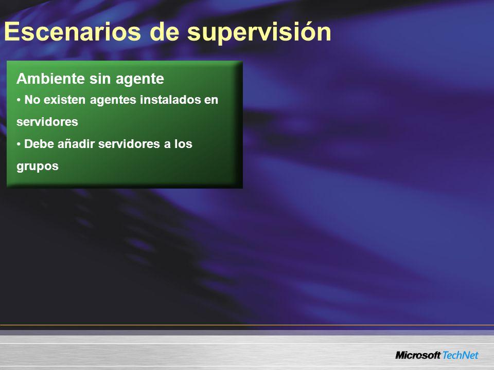 Escenarios de supervisión Ambiente sin agente No existen agentes instalados en servidores Debe añadir servidores a los grupos
