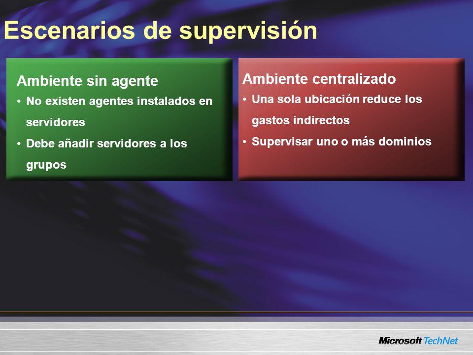 Escenarios de supervisión Ambiente sin agente No existen agentes instalados en servidores Debe añadir servidores a los grupos Ambiente centralizado Una sola ubicación reduce los gastos indirectos Supervisar uno o más dominios