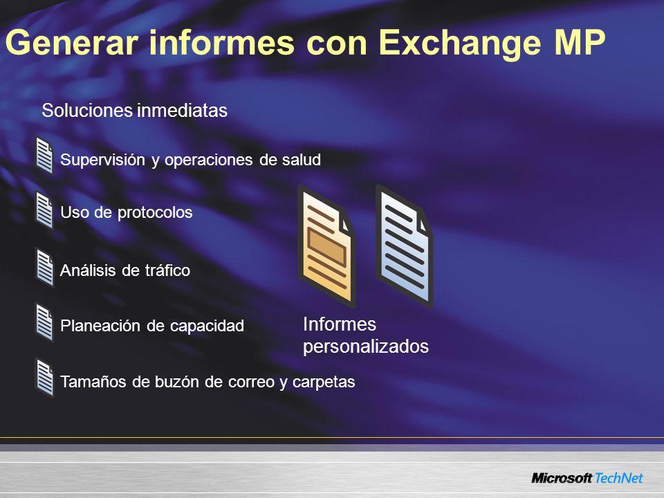 Generar informes con Exchange MP Soluciones inmediatas Informes personalizados Supervisión y operaciones de salud Uso de protocolos Análisis de tráfico Planeación de capacidad Tamaños de buzón de correo y carpetas