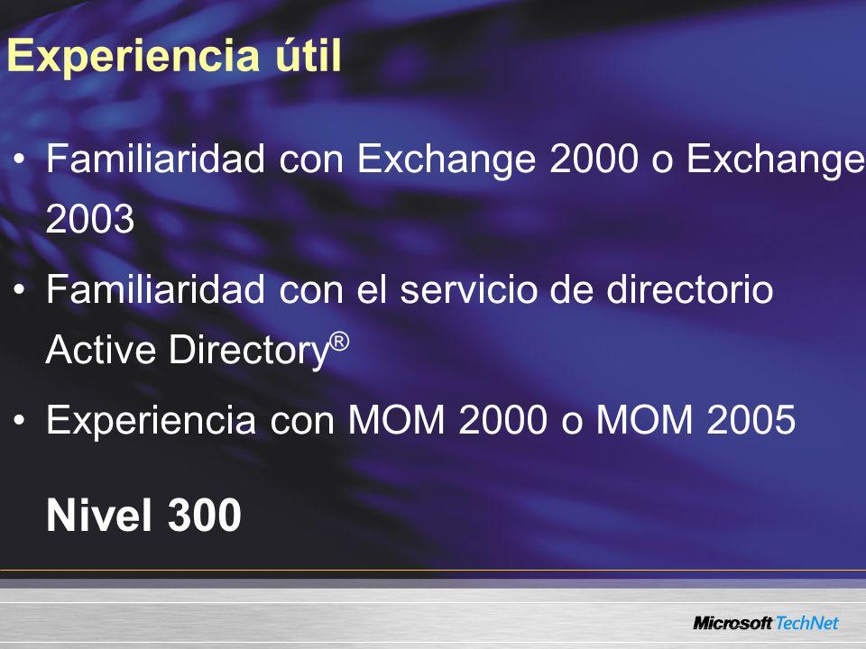 Experiencia útil Nivel 300 Familiaridad con Exchange 2000 o Exchange 2003 Familiaridad con el servicio de directorio Active Directory ® Experiencia con MOM 2000 o MOM 2005