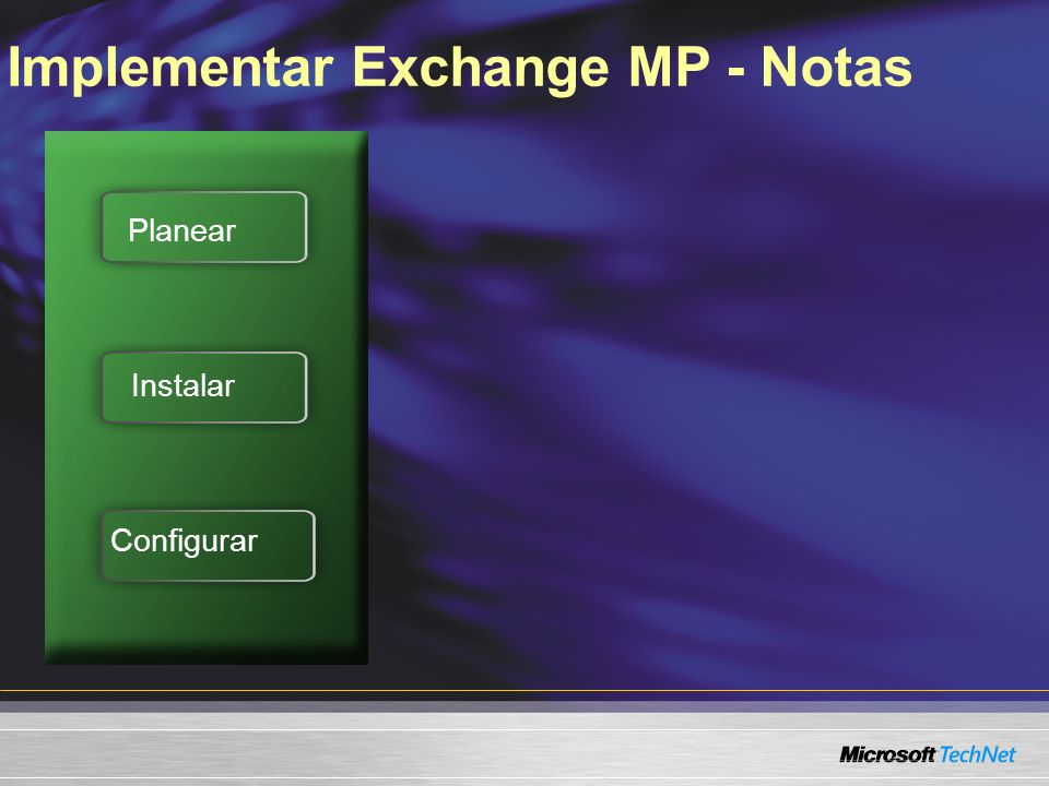 Implementar Exchange MP - Notas Planear Instalar Configurar
