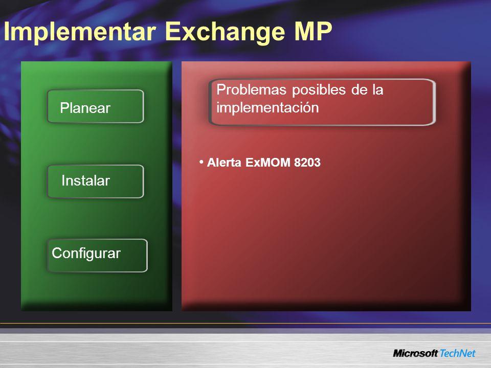 Implementar Exchange MP Planear Instalar Configurar Problemas posibles de la implementación Alerta ExMOM 8203 Error Solicitud para permiso de tipo