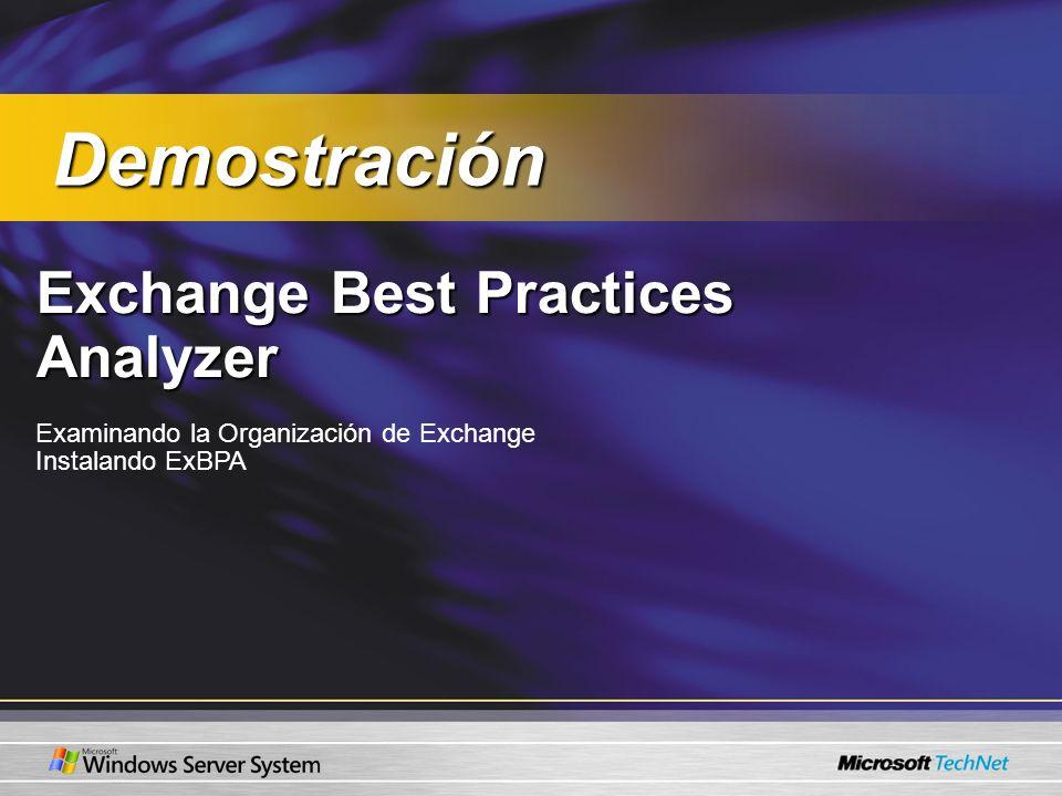 Exchange Best Practices Analyzer Examinando la Organización de Exchange Instalando ExBPA Demostración Demostración