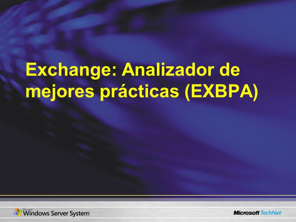 Cómo funciona Active Directory Exchange Server Exchange Server Exchange Server Despachador ExBPA Reglas de XML colectores Datos de salida Analizador ExBPA Impor- tación Expor- tación XML Interfaz ExBPA