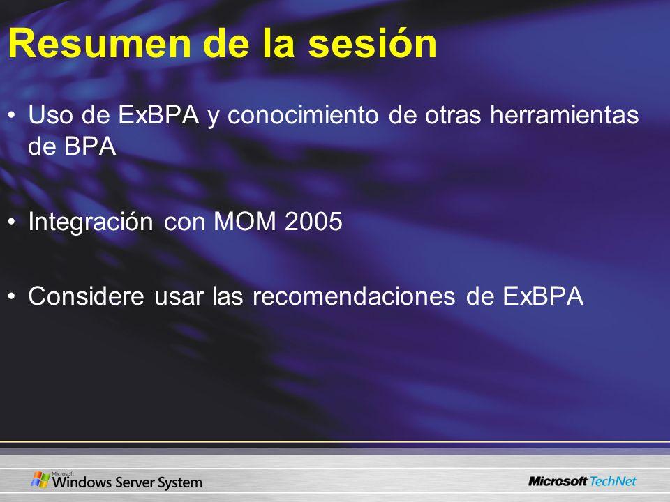 Resumen de la sesión Uso de ExBPA y conocimiento de otras herramientas de BPA Integración con MOM 2005 Considere usar las recomendaciones de ExBPA