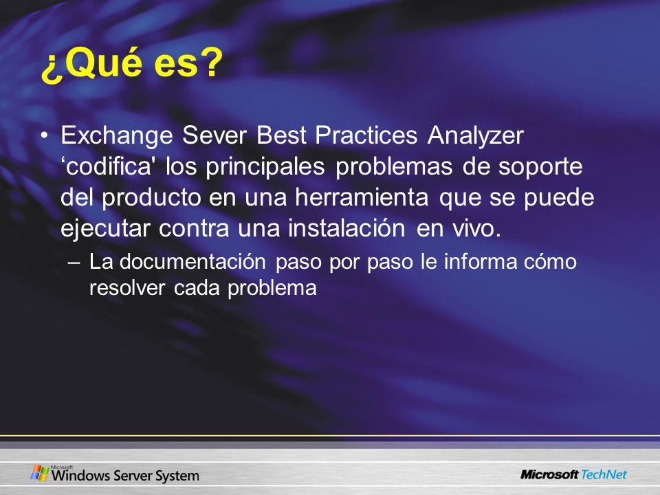 ¿Qué es? Exchange Sever Best Practices Analyzer codifica' los principales problemas de soporte del producto en una herramienta que se puede ejecutar c