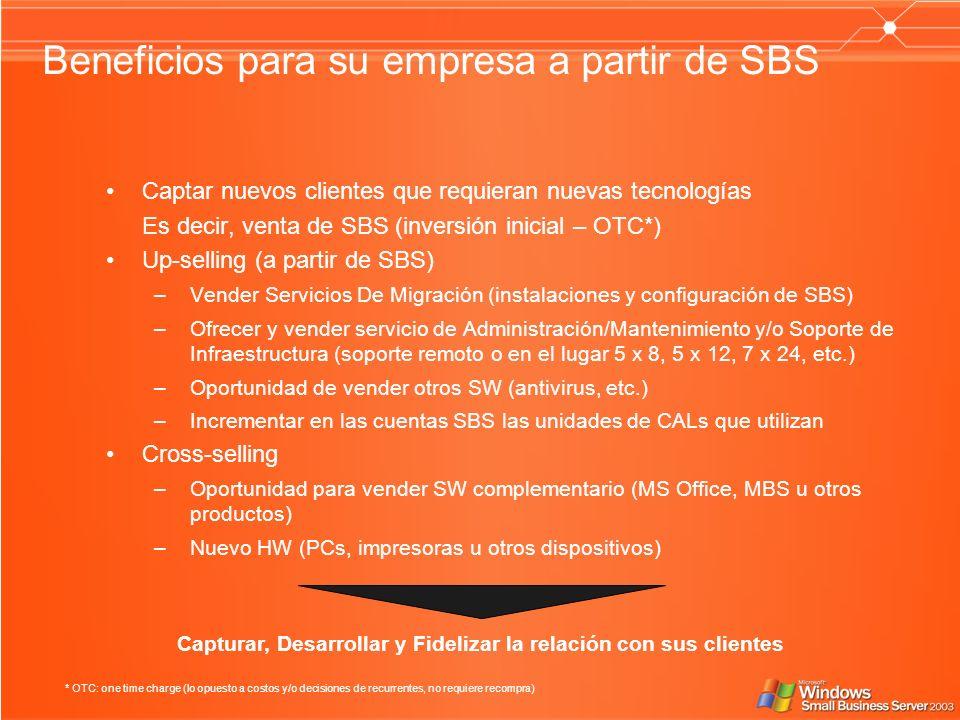 Beneficios para su empresa a partir de SBS Captar nuevos clientes que requieran nuevas tecnologías Es decir, venta de SBS (inversión inicial – OTC*) Up-selling (a partir de SBS) –Vender Servicios De Migración (instalaciones y configuración de SBS) –Ofrecer y vender servicio de Administración/Mantenimiento y/o Soporte de Infraestructura (soporte remoto o en el lugar 5 x 8, 5 x 12, 7 x 24, etc.) –Oportunidad de vender otros SW (antivirus, etc.) –Incrementar en las cuentas SBS las unidades de CALs que utilizan Cross-selling –Oportunidad para vender SW complementario (MS Office, MBS u otros productos) –Nuevo HW (PCs, impresoras u otros dispositivos) * OTC: one time charge (lo opuesto a costos y/o decisiones de recurrentes, no requiere recompra) Capturar, Desarrollar y Fidelizar la relación con sus clientes