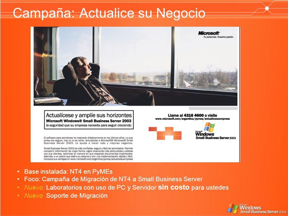 Campaña: Actualice su Negocio Base instalada: NT4 en PyMEs Foco: Campaña de Migración de NT4 a Small Business Server Nuevo: Laboratorios con uso de PC y Servidor sin costo para ustedes Nuevo Soporte de Migración