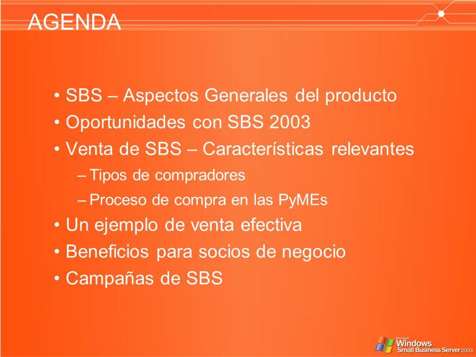 AGENDA SBS – Aspectos Generales del producto Oportunidades con SBS 2003 Venta de SBS – Características relevantes –Tipos de compradores –Proceso de compra en las PyMEs Un ejemplo de venta efectiva Beneficios para socios de negocio Campañas de SBS