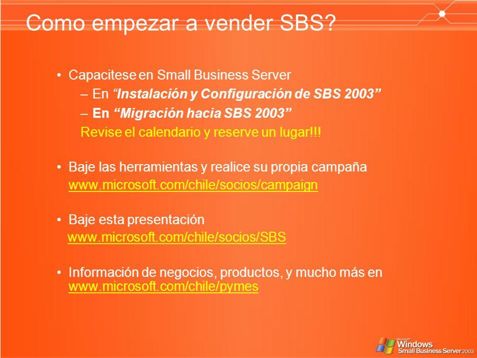 Como empezar a vender SBS? Capacitese en Small Business Server –En Instalación y Configuración de SBS 2003 –En Migración hacia SBS 2003 Revise el cale
