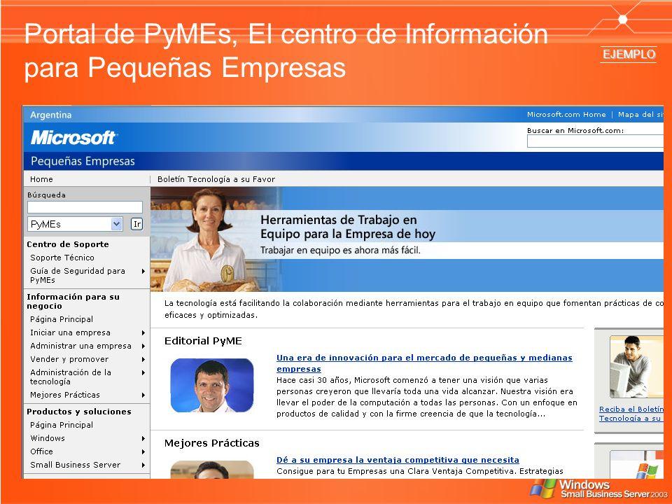 Portal de PyMEs, El centro de Información para Pequeñas Empresas EJEMPLO