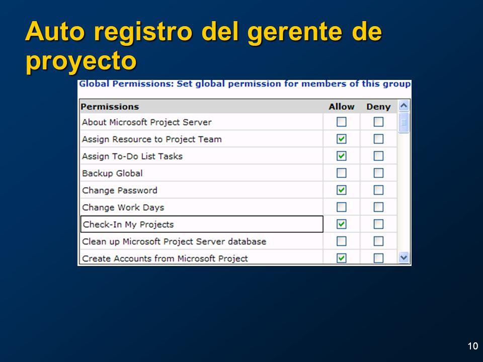 10 Auto registro del gerente de proyecto