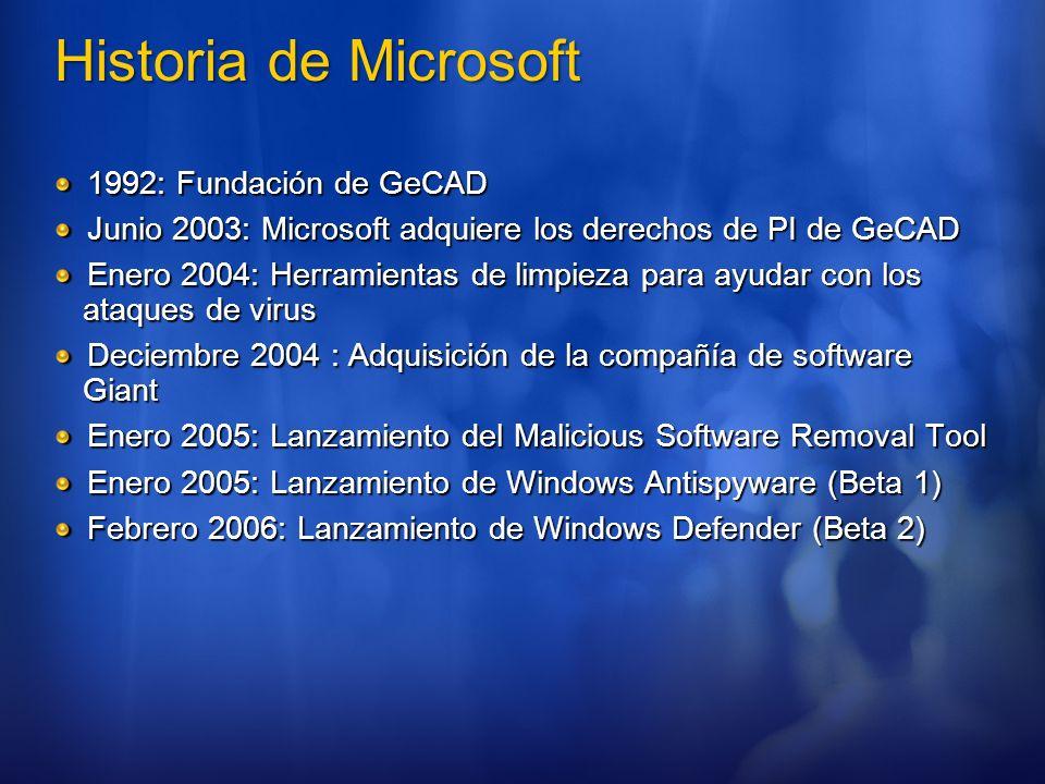 Malicious Software Removal Tool Objetivos Reducir el Impacto del malware en usuarios Windows Entender las tendencias del malware Distribución Windows Update Centro de Descargas Sitio Web Reporte disponible públicamente http://www.microsoft.com/downloads/details.aspx?displaylang=es&Famil yID=47DDCFA9-645D-4495-9EDA-92CDE33E99A9 http://www.microsoft.com/downloads/details.aspx?displaylang=es&Famil yID=47DDCFA9-645D-4495-9EDA-92CDE33E99A9
