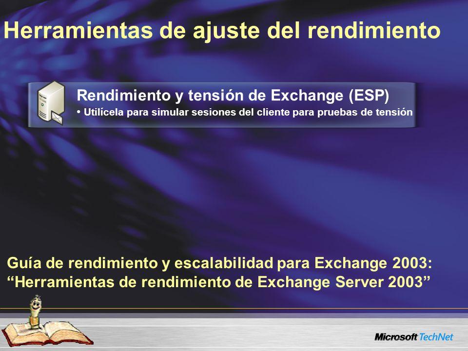Guía de rendimiento y escalabilidad para Exchange 2003: Herramientas de rendimiento de Exchange Server 2003 Herramientas de ajuste del rendimiento Rendimiento y tensión de Exchange (ESP) Utilícela para simular sesiones del cliente para pruebas de tensión