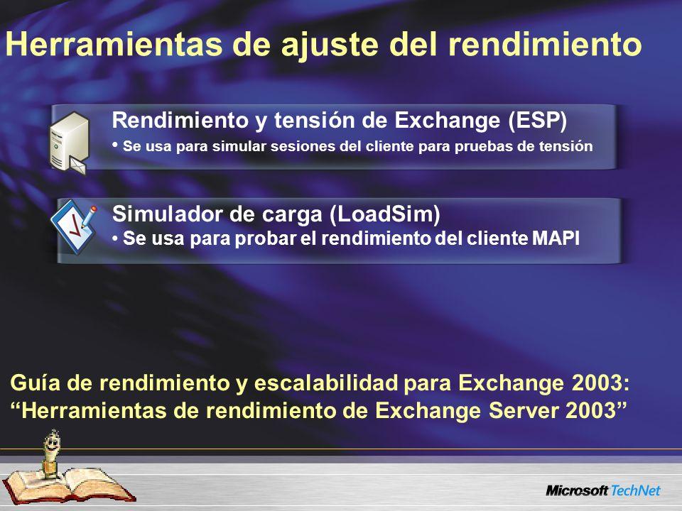 Guía de rendimiento y escalabilidad para Exchange 2003: Herramientas de rendimiento de Exchange Server 2003 Herramientas de ajuste del rendimiento Rendimiento y tensión de Exchange (ESP) Se usa para simular sesiones del cliente para pruebas de tensión Simulador de carga (LoadSim) Se usa para probar el rendimiento del cliente MAPI