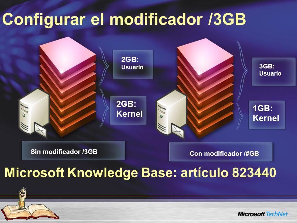 Microsoft Knowledge Base: artículo 823440 Configurar el modificador /3GB Sin modificador /3GB 2GB: Usuario Con modificador /#GB 3GB: Usuario 1GB: Kernel 2GB: Kernel