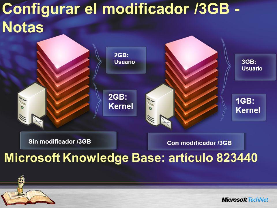 Microsoft Knowledge Base: artículo 823440 Configurar el modificador /3GB - Notas Sin modificador /3GB 2GB: Usuario Con modificador /3GB 3GB: Usuario 1GB: Kernel 2GB: Kernel