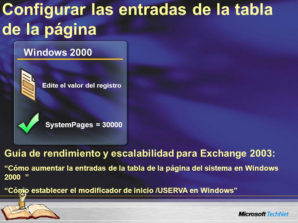 Guía de rendimiento y escalabilidad para Exchange 2003: Cómo aumentar la entradas de la tabla de la página del sistema en Windows 2000 Cómo establecer el modificador de inicio /USERVA en Windows Configurar las entradas de la tabla de la página Windows 2000 Edite el valor del registro SystemPages = 30000