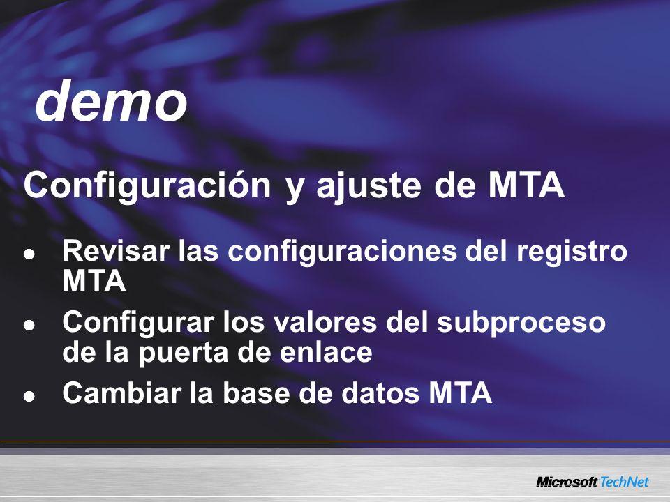 Demo Configuración y ajuste de MTA Revisar las configuraciones del registro MTA Configurar los valores del subproceso de la puerta de enlace Cambiar la base de datos MTA demo