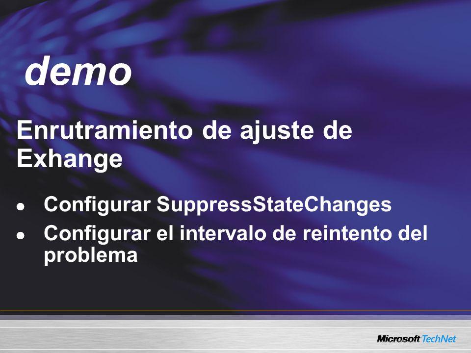 Demo Enrutramiento de ajuste de Exhange Configurar SuppressStateChanges Configurar el intervalo de reintento del problema demo