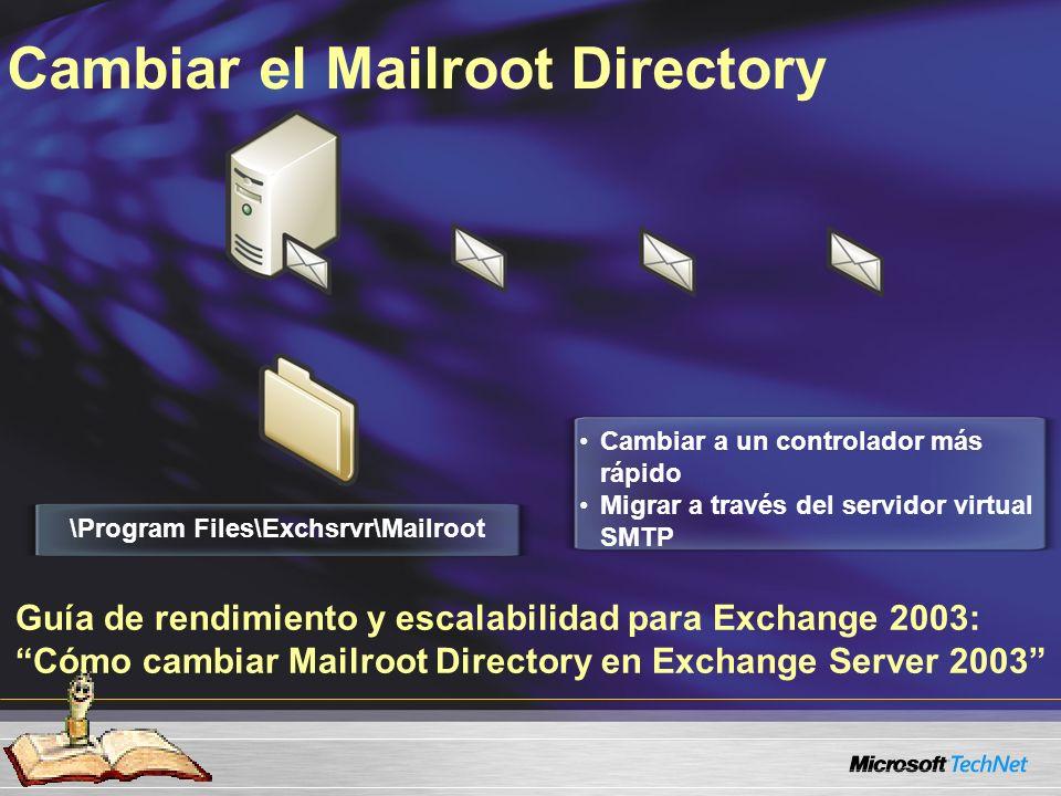 Cambiar el Mailroot Directory \Program Files\Exchsrvr\Mailroot Cambiar a un controlador más rápido Migrar a través del servidor virtual SMTP Guía de rendimiento y escalabilidad para Exchange 2003: Cómo cambiar Mailroot Directory en Exchange Server 2003