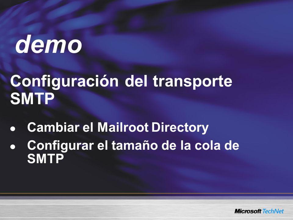 Demo Configuración del transporte SMTP Cambiar el Mailroot Directory Configurar el tamaño de la cola de SMTP demo