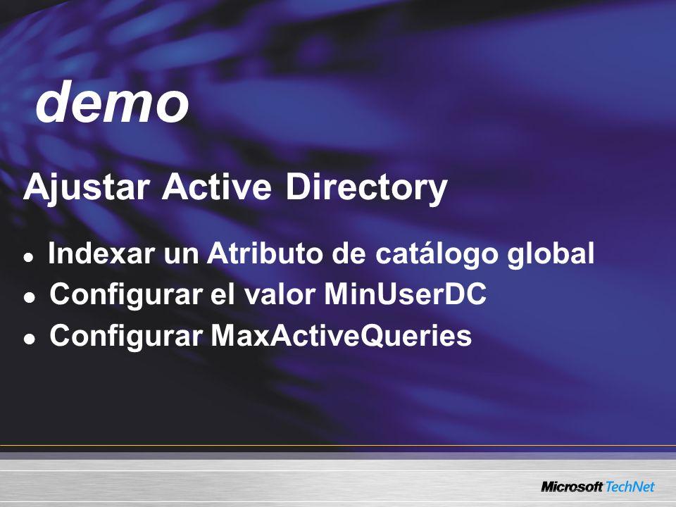 Demo Ajustar Active Directory Indexar un Atributo de catálogo global Configurar el valor MinUserDC Configurar MaxActiveQueries demo