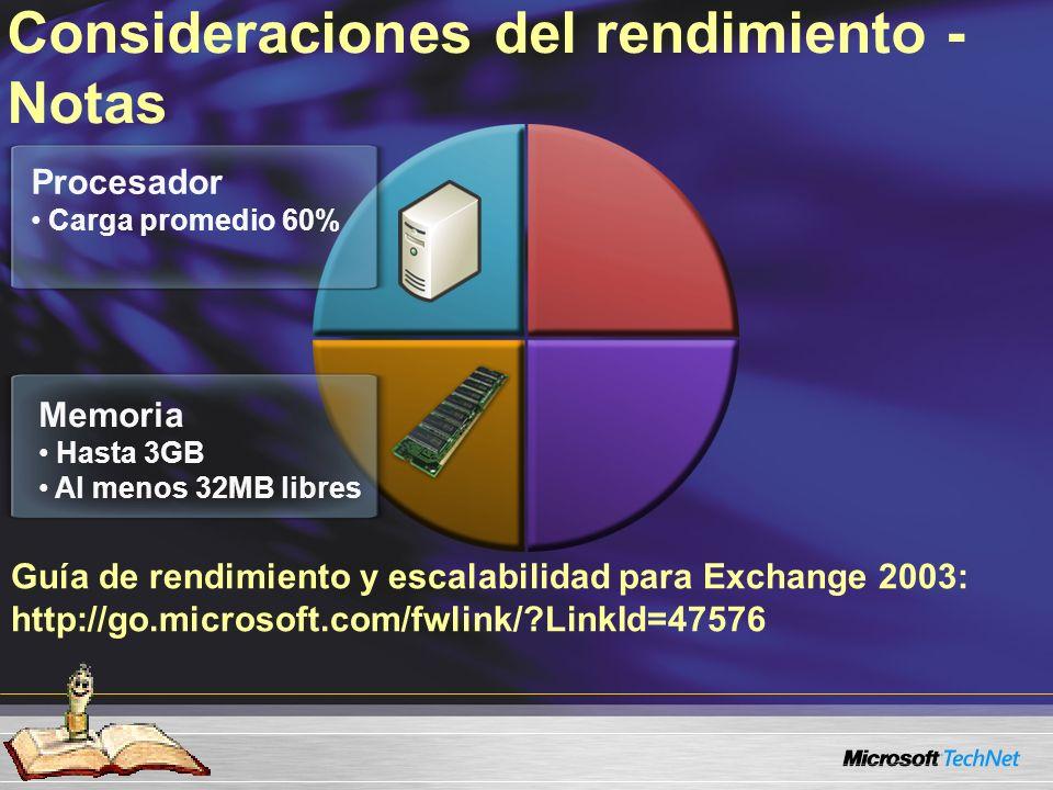 Guía de rendimiento y escalabilidad para Exchange 2003: http://go.microsoft.com/fwlink/?LinkId=47576 Consideraciones del rendimiento - Notas Procesador Carga promedio 60% Memoria Hasta 3GB Al menos 32MB libres Almacen.