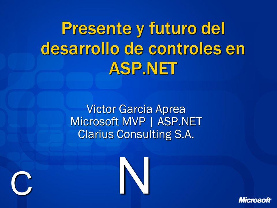 Presente y futuro del desarrollo de controles en ASP.NET Victor Garcia Aprea Microsoft MVP | ASP.NET Clarius Consulting S.A.
