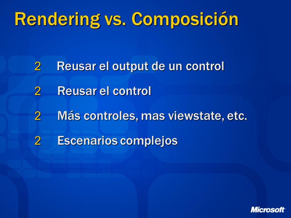2 Reusar el output de un control 2 Reusar el control 2 Más controles, mas viewstate, etc.