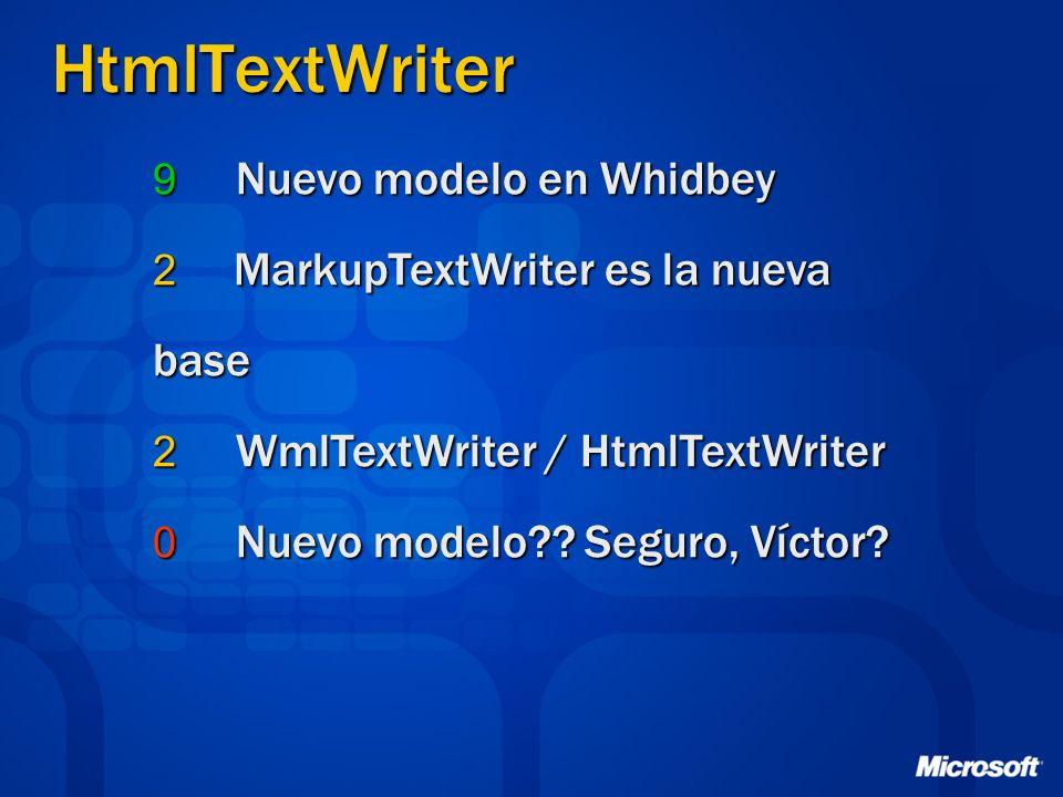 HtmlTextWriter 9 Nuevo modelo en Whidbey 2 MarkupTextWriter es la nueva base 2 WmlTextWriter / HtmlTextWriter 0 Nuevo modelo .