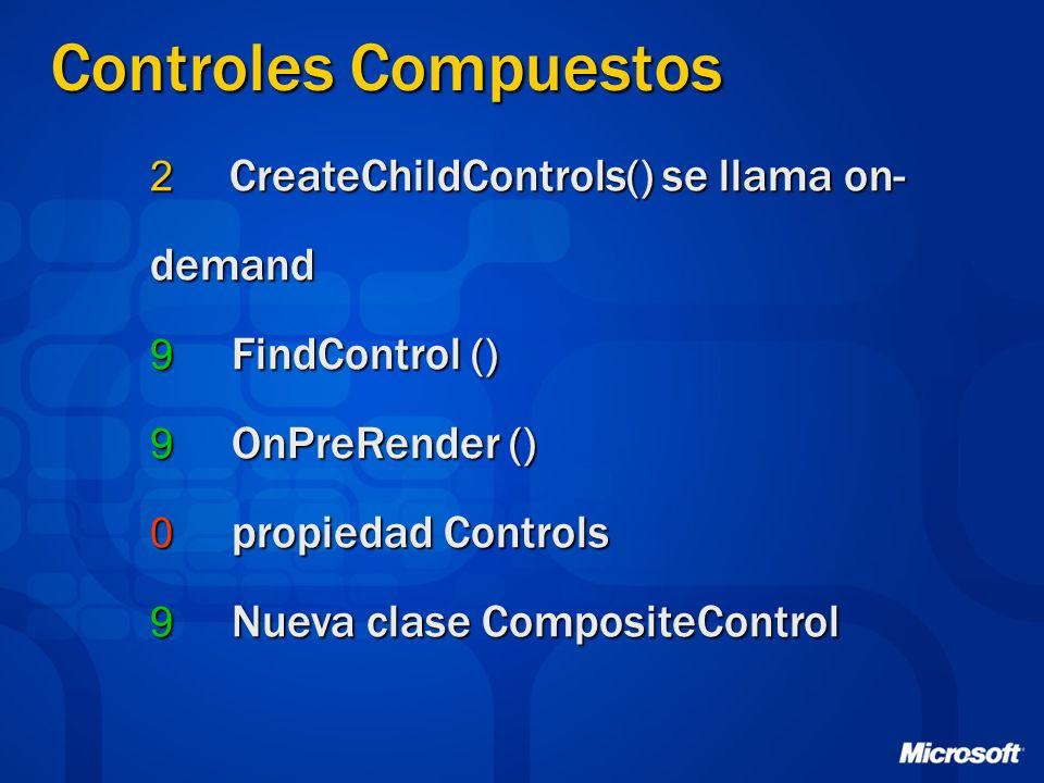 Controles Compuestos 2 CreateChildControls() se llama on- demand 9 FindControl () 9 OnPreRender () 0 propiedad Controls 9 Nueva clase CompositeControl