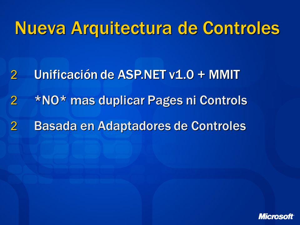 Nueva Arquitectura de Controles 2 Unificación de ASP.NET v1.0 + MMIT 2 *NO* mas duplicar Pages ni Controls 2 Basada en Adaptadores de Controles