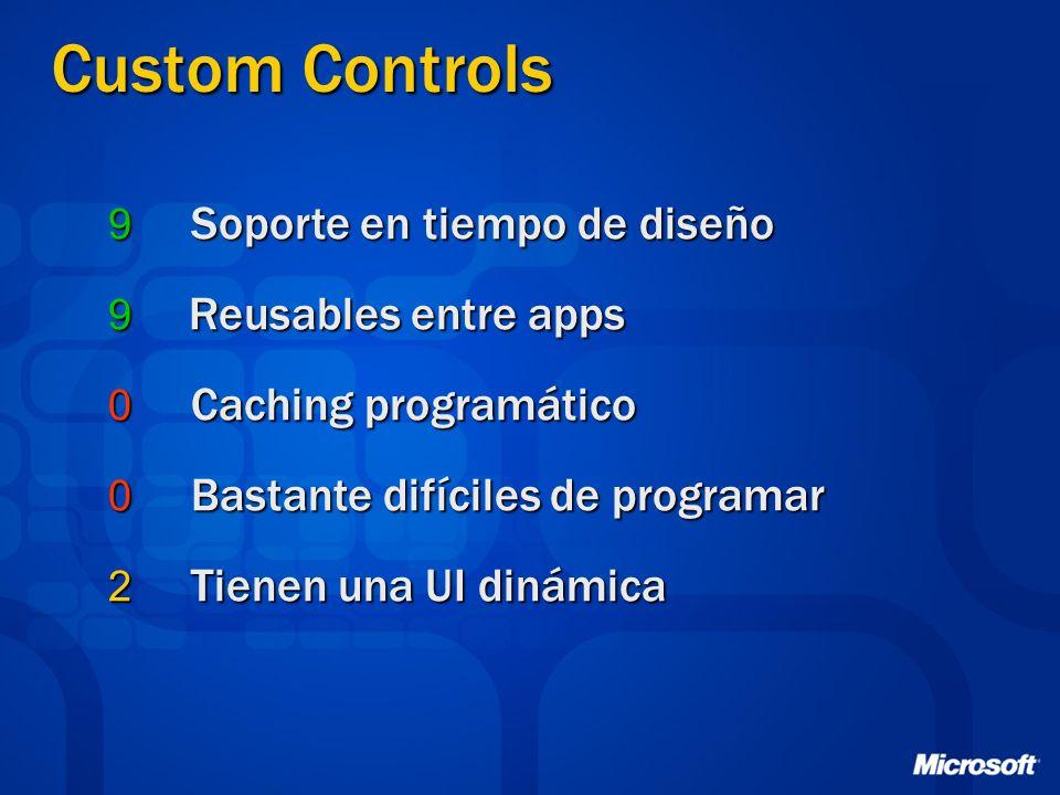 Custom Controls 9 Soporte en tiempo de diseño 9 Reusables entre apps 0 Caching programático 0 Bastante difíciles de programar 2 Tienen una UI dinámica