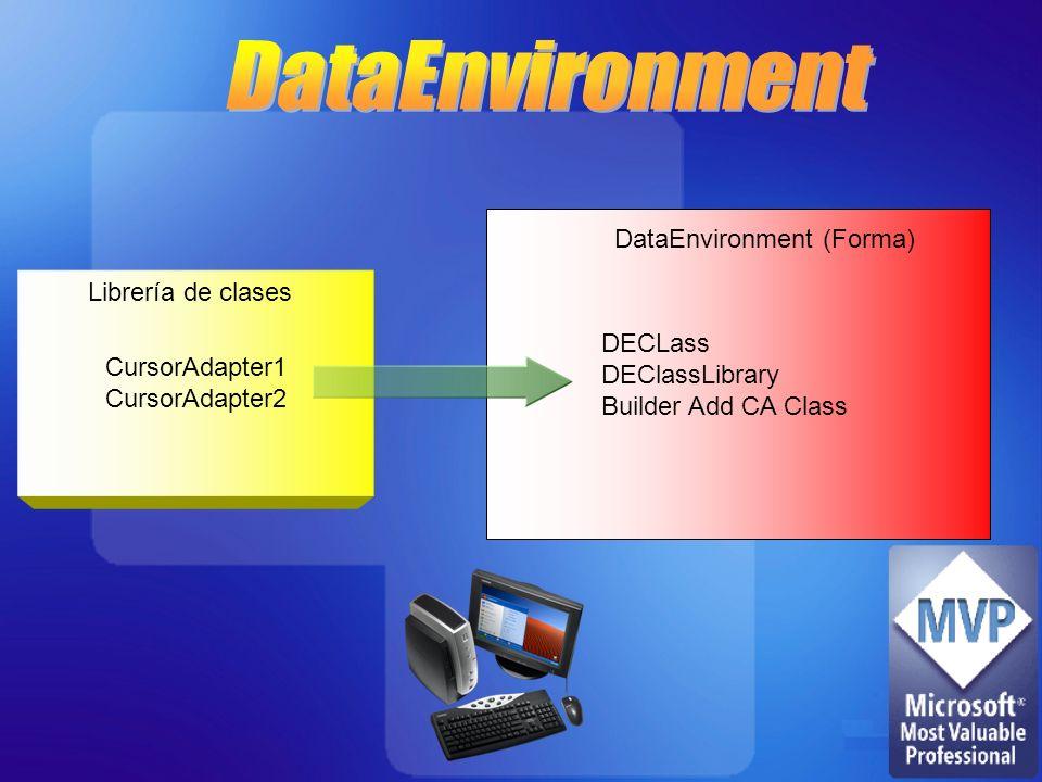 CursorAdapter1 CursorAdapter2 Librería de clases DECLass DEClassLibrary Builder Add CA Class DataEnvironment (Forma)
