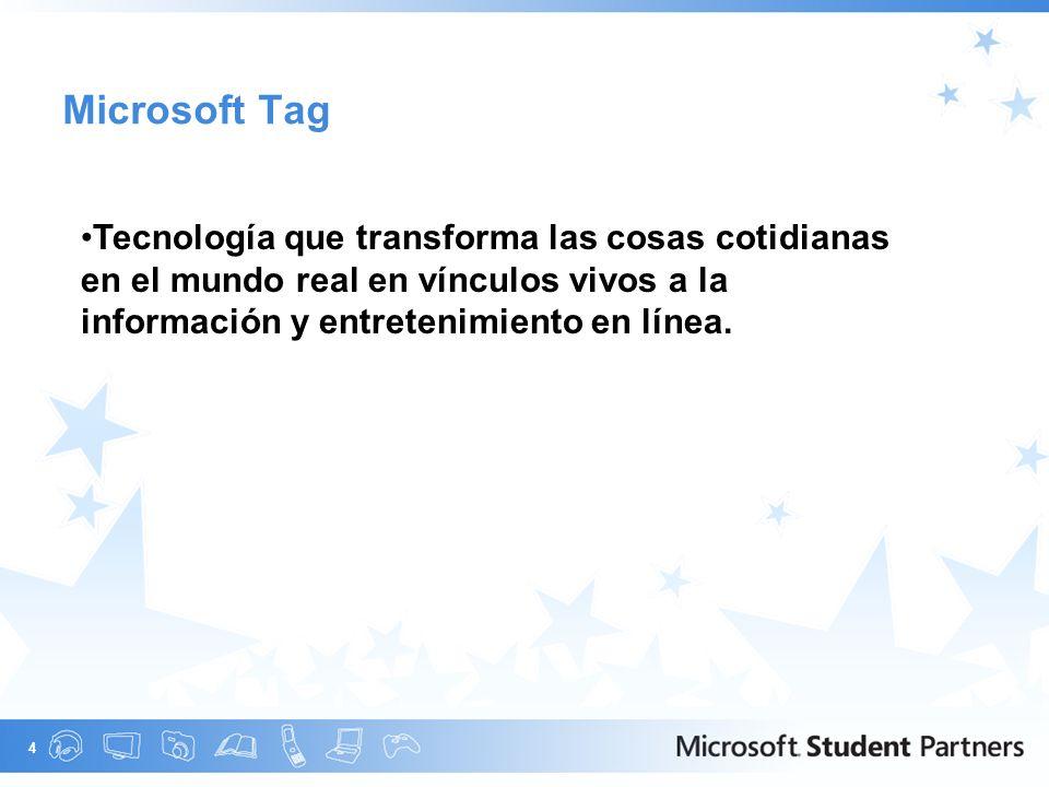 4 Microsoft Tag Tecnología que transforma las cosas cotidianas en el mundo real en vínculos vivos a la información y entretenimiento en línea.