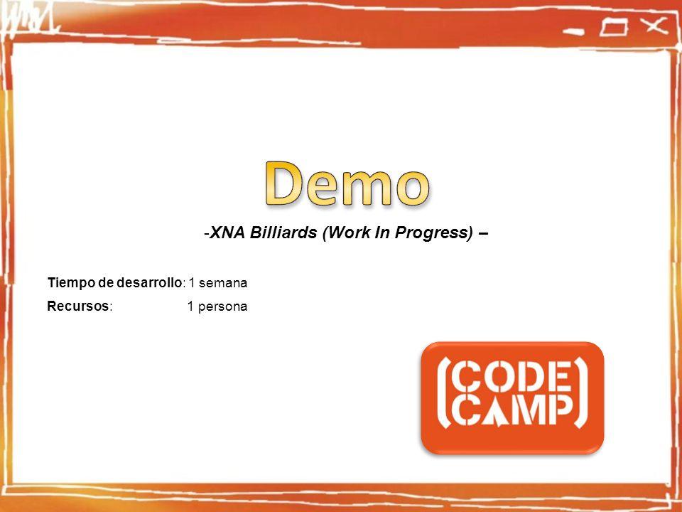 -XNA Billiards (Work In Progress) – Tiempo de desarrollo: 1 semana Recursos: 1 persona