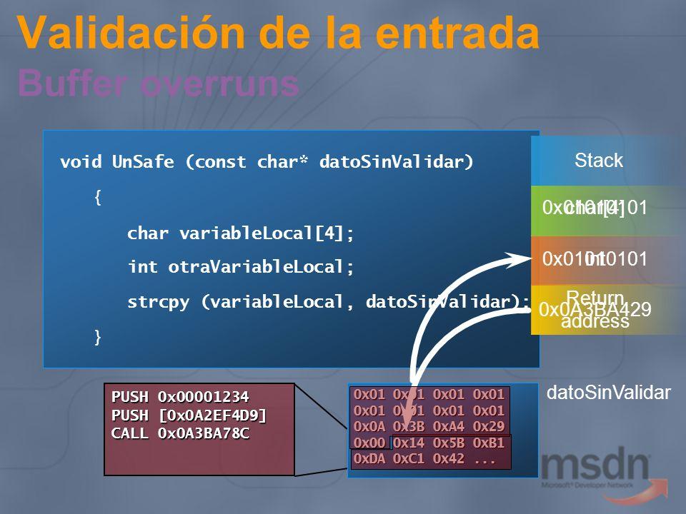 Validación de la entrada Buffer overruns Causas más comunes Copia de cadenas Arrays Reserva de memoria insuficiente Defensas Utilizar código manejado Vigilar P/Invoke, código unsafe Usar con cuidado strcpy, memcpy Mejor equivalentes en strsafe.h Habilitar switch /GS