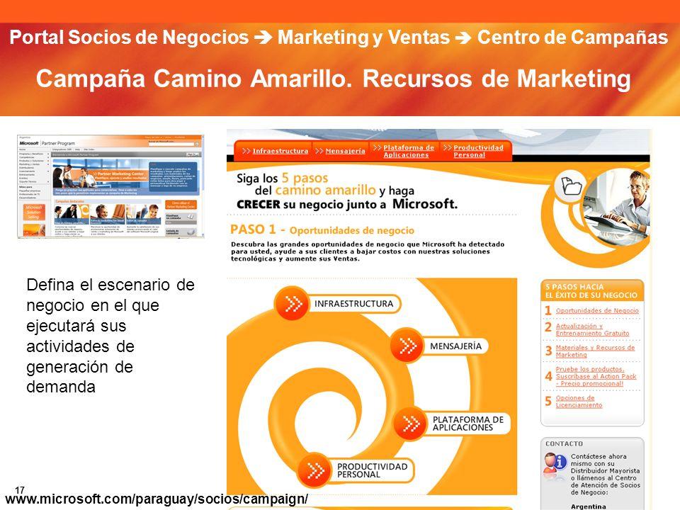 17 Campaña Camino Amarillo. Recursos de Marketing Defina el escenario de negocio en el que ejecutará sus actividades de generación de demanda Portal S