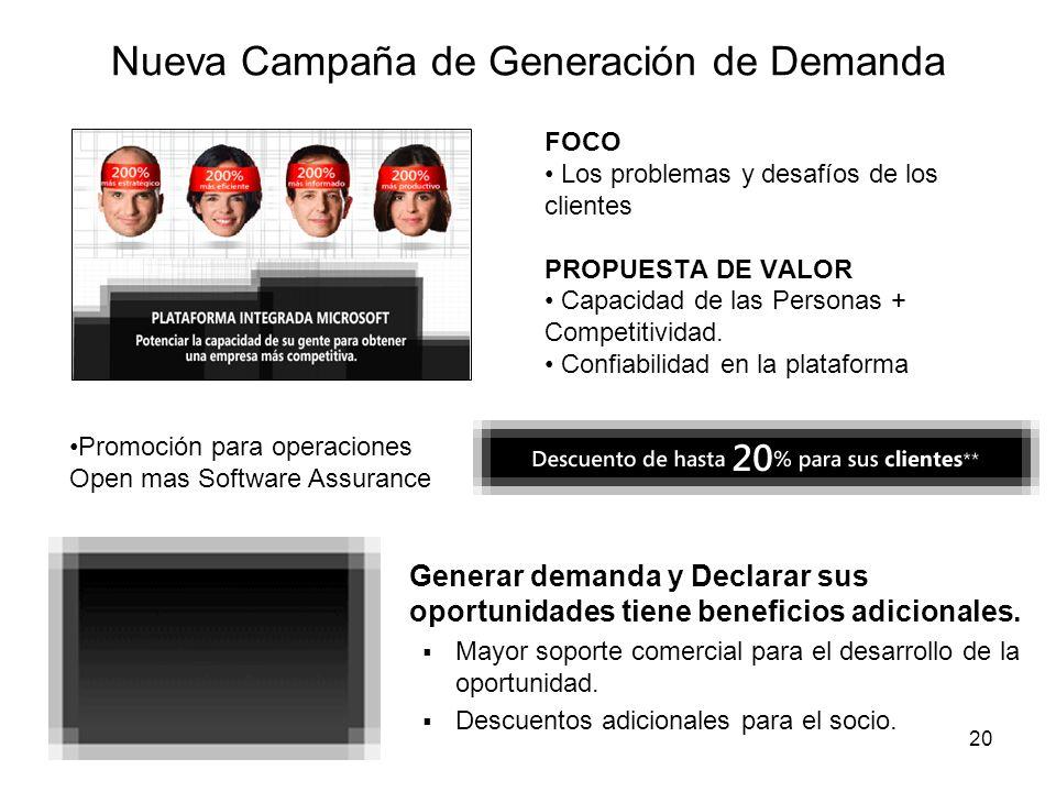 20 Nueva Campaña de Generación de Demanda FOCO Los problemas y desafíos de los clientes PROPUESTA DE VALOR Capacidad de las Personas + Competitividad.