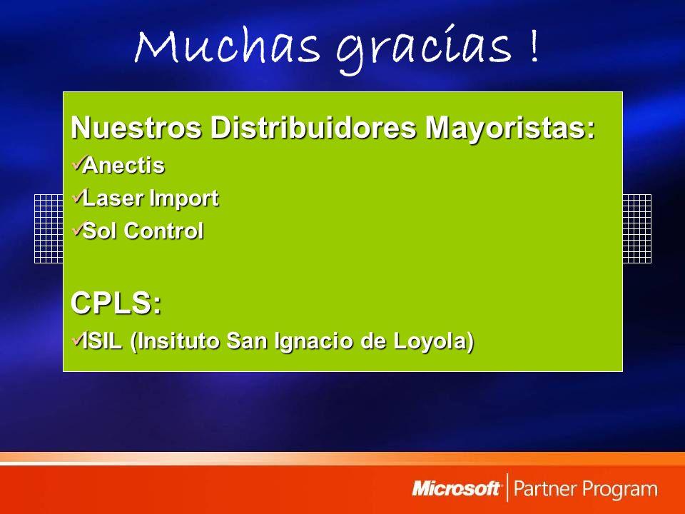 Muchas gracias ! Nuestros Distribuidores Mayoristas: Anectis Anectis Laser Import Laser Import Sol Control Sol ControlCPLS: ISIL (Insituto San Ignacio