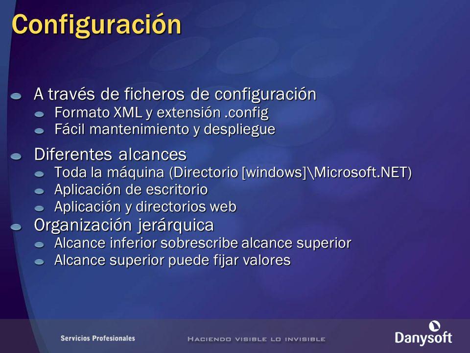 Configuración A través de ficheros de configuración Formato XML y extensión.config Fácil mantenimiento y despliegue Diferentes alcances Toda la máquina (Directorio [windows]\Microsoft.NET) Aplicación de escritorio Aplicación y directorios web Organización jerárquica Alcance inferior sobrescribe alcance superior Alcance superior puede fijar valores